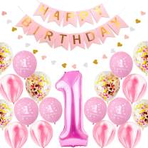 First Birthday Decorations Set, Baby 1St Birthday Party Supplies Pink and Gold Happy Brithday Banner Number One Foil Balloons and Latex Balloons for Girl and Boy Baby Shower Kit Good Photo Props