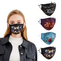 IGINOA 2021 Newest 4 Pcs Unisex Fashionable Printed Pattern Dust Cotton Mouth Washable and Reusable for Dust, Sports, Outdoors