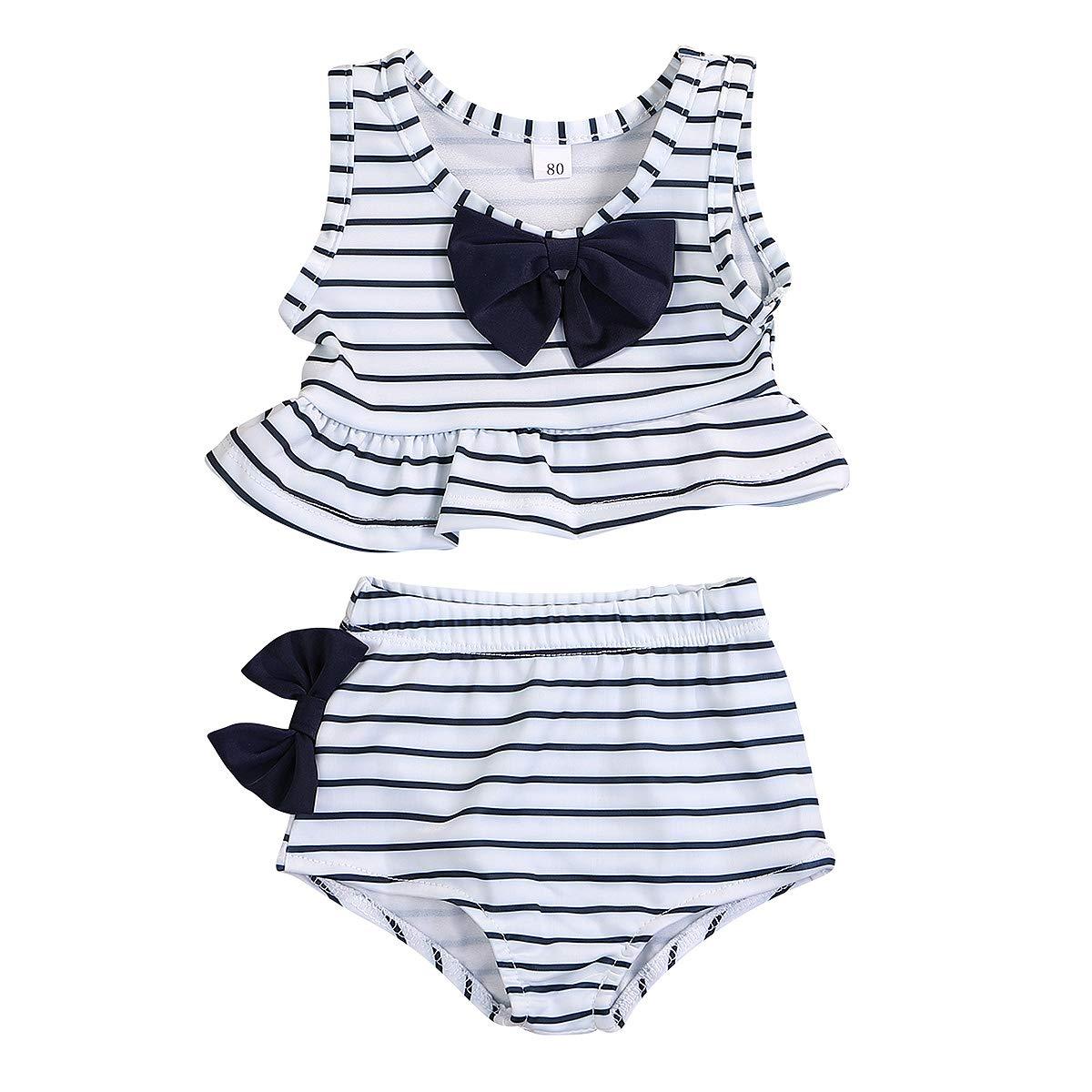 Shorts 2pcs Baby Bathing Suit Swimwear Bikini Set Toddler Baby Girl Swimsuit Ruffle Striped Bowknot Top