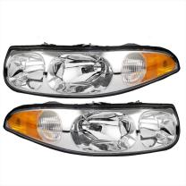 Aftermarket Replacement Driver and Passenger Set Headlights with Fluted High Beam Compatible with 2000-2005 LeSabre