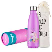 Unicorn Gifts, Unicorn Party Supplies, Stainless Steel Water Bottle, Kids Water bottle 17oz/500ml Double Wall Vacuum Insulated Thermo Bottle for Unicorn Party and Birthdays - Onebttl Aqua UnicornPower