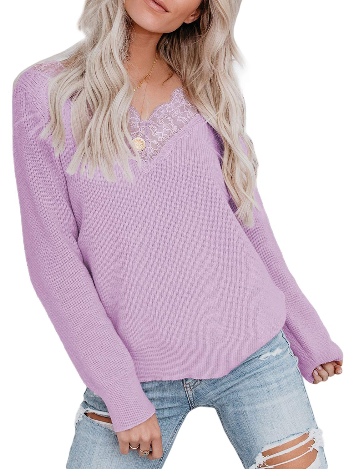 Chase Secret Womens Casual V Neck Lace Patchwork Long Sleeve Solid Color Pullover Sweater Tops S-XL