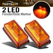 "Partsam LED Marker Side Light 2.6"" Light Amber for 12V Truck Tractor Trailer 2PCS, Sealed Mini-Reflex Mini LED Trailer Marker or ID Light 2 Diode, Rectangular Amber Lights"