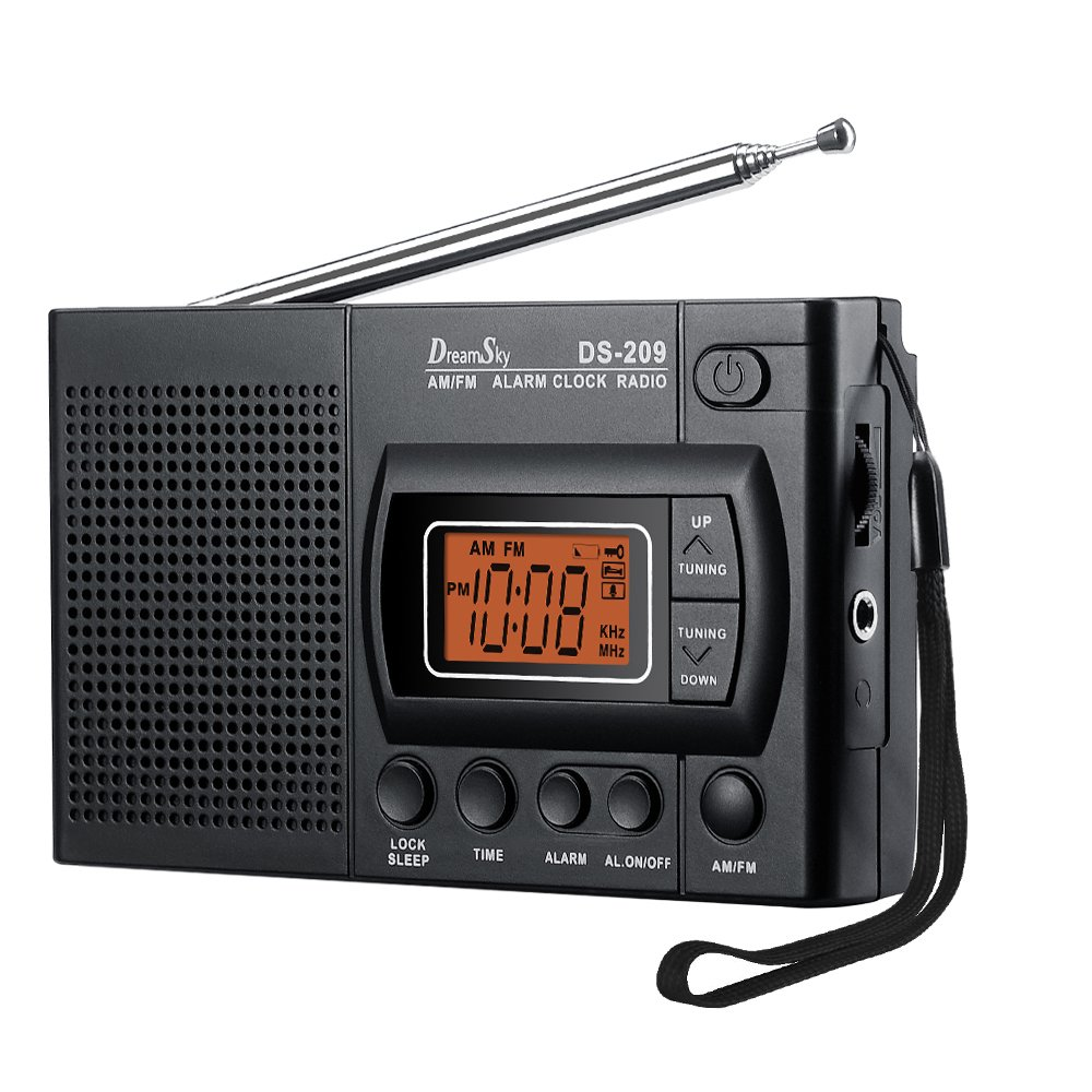 DreamSky Portable AM/FM Radio Alarm Clock, Earphone Jack, 12/24H Time Display with Backlight, Ascending Alarms, Battery Operated, Sleep Timer AA Battery Included for Walking, Emergency.