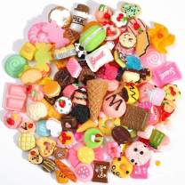 Plastic Slime Charms Mixed 80-Pack Food Cake Ice-Cream Chocolate Cookie Dessert Resin Flatback Slime Beads Making Supplies for DIY Crafts