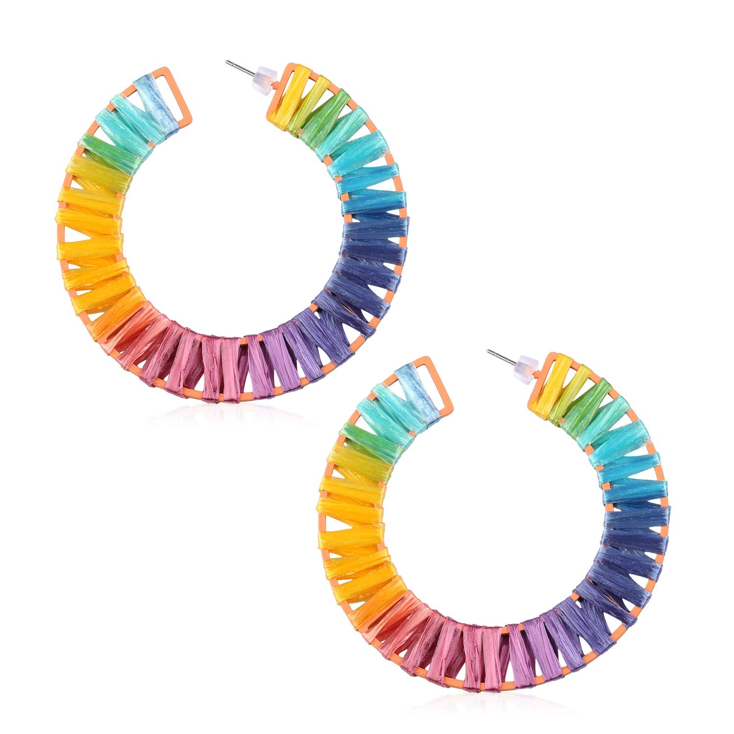 Statement Rainbow Rattan Drop Hoop Earrings for Women Handmade Raffia Geometric Round Earrings Lightweight Colorful Straw Dangle Earrings for Mother Sister Daily with Gushion Gift Box