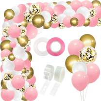 RUBFAC 110pcs White Pink Gold Balloon Garland Arch Kit, Gold Confetti Balloons, for Birthday, Shower, Wedding and Christmas Decorations