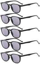 Eyekepper 5-Pack Spring Hinges Reading Glasses Sunshine Readers Grey Lens +1.5
