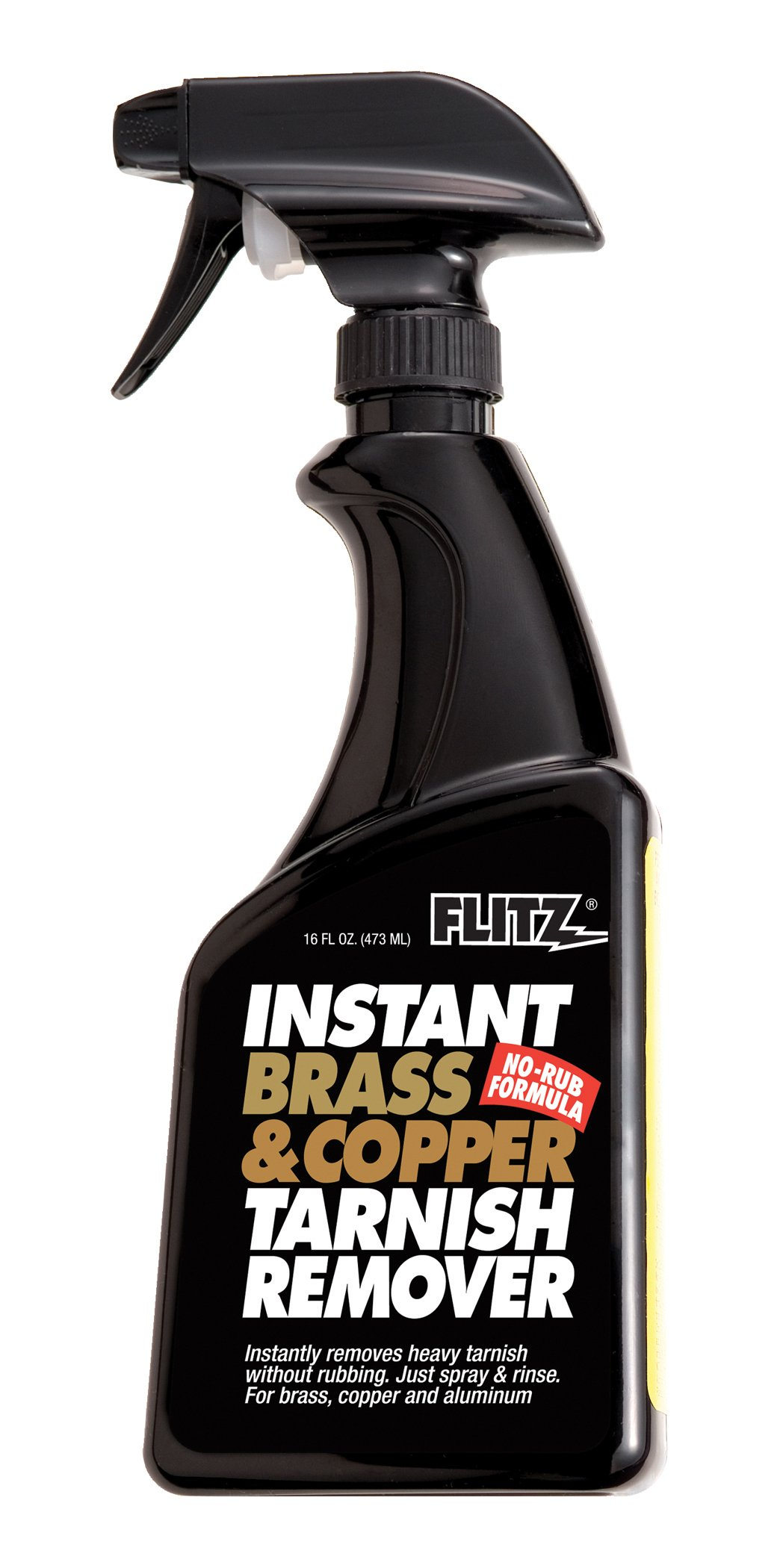 Flitz Brass and Copper Tarnish Remover, Powerful Organic Formula That Safely Removes Rust, Stains and Oxidation + Cleans Brick, Glass, Aluminum and More, Made in the USA, 16 oz Spray