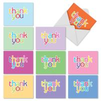 10 Assorted 'Hipster Thanks' Thank You Cards with Envelopes 4 x 5.12 inch, Boxed Set of Minimalist Gratitude Notes, Simple Rainbow Gratefulness Cards, Thank You Cards in Fun Colors M2363TYG