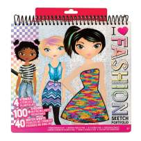 Fashion Angels Fashion Design Sketch Portfolio (11451) Full Size Sketch Book, Fashion Coloring for Kids,Brown/A