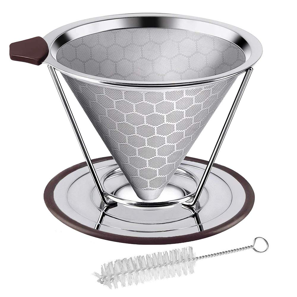 Pour Over Coffee Dripper, Paperless & Eco-Friendly Reusable Stainless Steel Coffee Filter with Non-Slip Stand and Cleaning Brush,Fit Most Coffee Mug and Tumbler