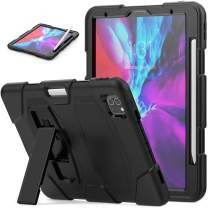 SEYMAC iPad Pro 11 Case 2020, Heavy Duty Full Body Rugged [Shockproof] Drop Protection Case [Supports Apple Pencil 2 Wireless Charging] with Stand for iPad Pro 11 2nd Gen A2228/A2231 (Black/Black)