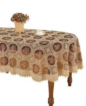 Simhomsen Vintage Burgundy Lace Tablecloth Embroidered Oval 60 × 102 Inch