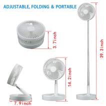 CHUNGHOP Height Adjustable Folding and Portable Fan Rechargeable Battery Operated Fan with 4 Speeds Strong Wind Mini Fan for Home Office Travel, Camping, Battery Powered Fan, Car Fan 7200mAh(5-24h)