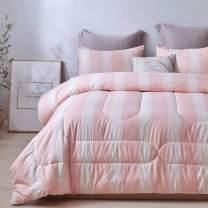 ATsense King Comforter Set, All Season 3-Piece 100% Cotton Fabric, Soft Microfiber Filled Bedding, Lightweight Reversible Duvet Insert (Pink&White, WMAQ015)