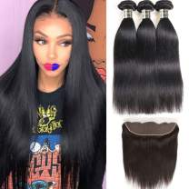 Fastyle Hair Brazilian Virgin Hair Straight 3 Bundles with Lace Frontal Unprocessed Wholesale Human Hair Extensions Brazilian Wavy Hair Bundles for Cheap Natural Color(16 18 20+14 frontal) …