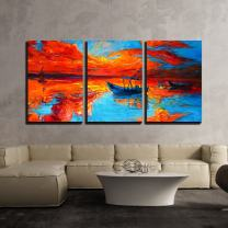 "wall26 - 3 Piece Canvas Wall Art - Original Oil Painting of Fishing Boats and Sea on Canvas - Modern Home Decor Stretched and Framed Ready to Hang - 24""x36""x3 Panels"