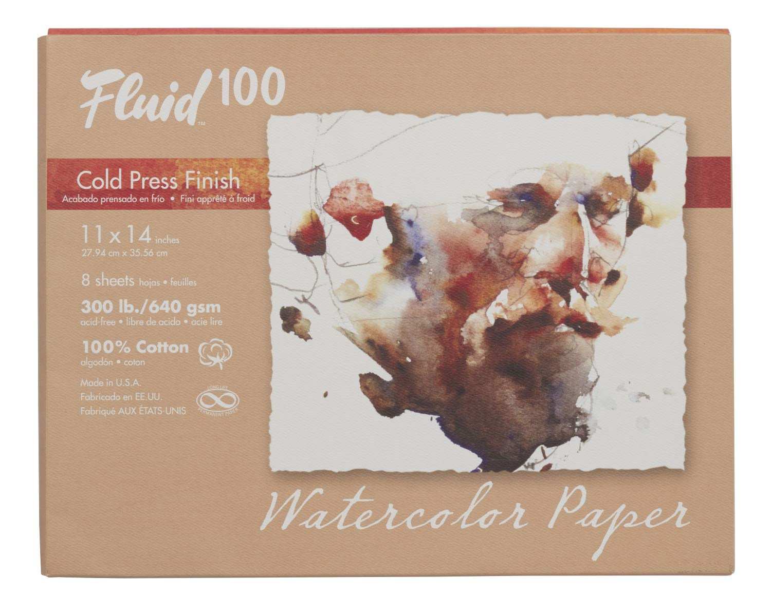 Speedball Art Products 821722 Fluid 100 Artist Watercolor Paper 300 lb Cold Press, 11 x 14-InchPochette, 100% Cotton Natural White 8 Sheets