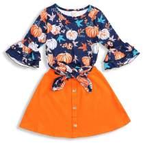Baby Girls Pumpkin Ruffle Long Sleeve T-Shirt Top + Button A-line Skirt Clothes Outfits