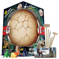 XXTOYS Dino Egg Dig Kit Dinosaur Eggs The Giant Egg with 12 Different Dinosaur Toys Dino Egg Kit for 5 Kids with 6 Digging Tools Party Archaeology Paleontology Educational Science Gift
