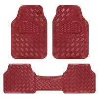 BDK Universal Fit 3-Piece Set Metallic Design Car Floor Mat-Heavy Duty All Weather with Rubber Backing (Wine Red)