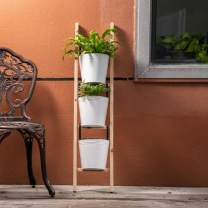 "Glitzhome Wood Ladder with Hanging Metal Buckets 42""H Decorative Leaning Ladder with Enameled Buckets 4-Tier Plant Stand for Garden Home Balcony Patio"