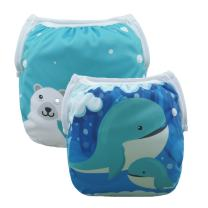 Babygoal Reusable Swim Diapers,One Size Adjustable and Washable Swim Underwear Fits 0-2 Years Babies for Baby Shower Gifts and Swimming Lessons 2SWD4041