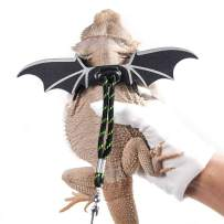 WATFOON Adjustable Bearded Dragon Lizard Comfort Leather Leash Harness with Cool Wings for Reptiles Amphibians Leopard Gecko Anole and Other Small Pet Animals