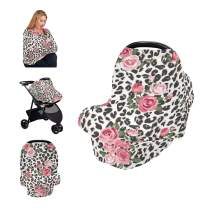 Nursing Cover Breastfeeding Scarf - Baby Car Seat Covers Canopy- Soft Breastfeeding Cover for Infants Babies Nursing Cover Apron, Baby Shower Gifts for Boy&Girl (Rose Leopard)