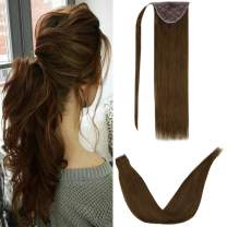 LaaVoo Human Hair Pony Tail Warp Around One Piece Hairpieces with One Clip in Comb Binding Ponytail