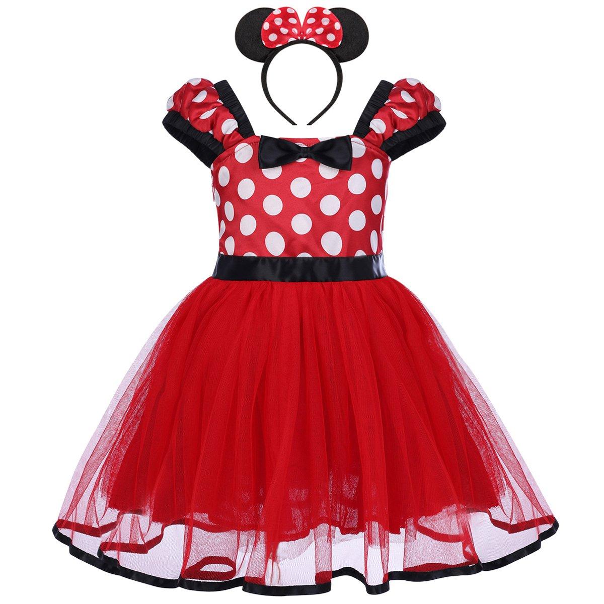 Costume Baby Girl Tutu Dress Mouse Ear Headband Polka Dot First Birthday Halloween Fancy Dress Up Princess Outfits