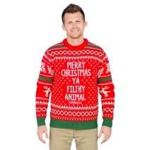 Merry Christmas Ya Filthy Animal Snowflake and Reindeer Adult Ugly Sweater