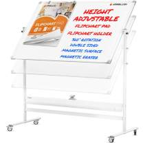 Mobile Whiteboard with Stand - 60x46 Adjustable Height Dry Erase Board with Stand - 360° Reversible Large White Board on Wheels - Portable Rolling Whiteboard Easel, Flip Chart Pad and Holders