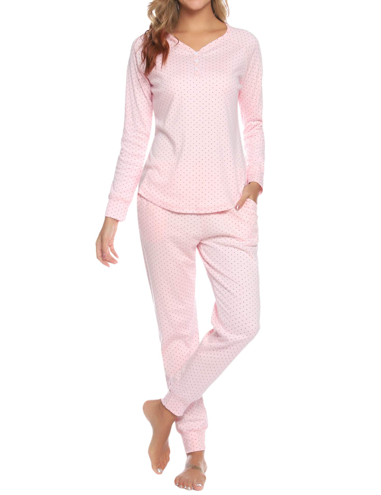 Hawiton Long Sleeve Dot Pattern Pajamas Set for Women Cotton Lounge Nightgowns with Pockets