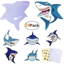 Shark-Party-Supplies-Invitations-Cards with 24 Envelopes and 36 Cute Shark Stickers Large Size Ocean Shark Invites for Kids Boys Birthday Party