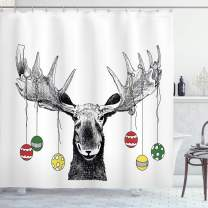 """Ambesonne Christmas Shower Curtain, Cloth Fabric Bathroom Decor Set with Hooks, Ornaments Balls Hanging, 70"""" Long"""