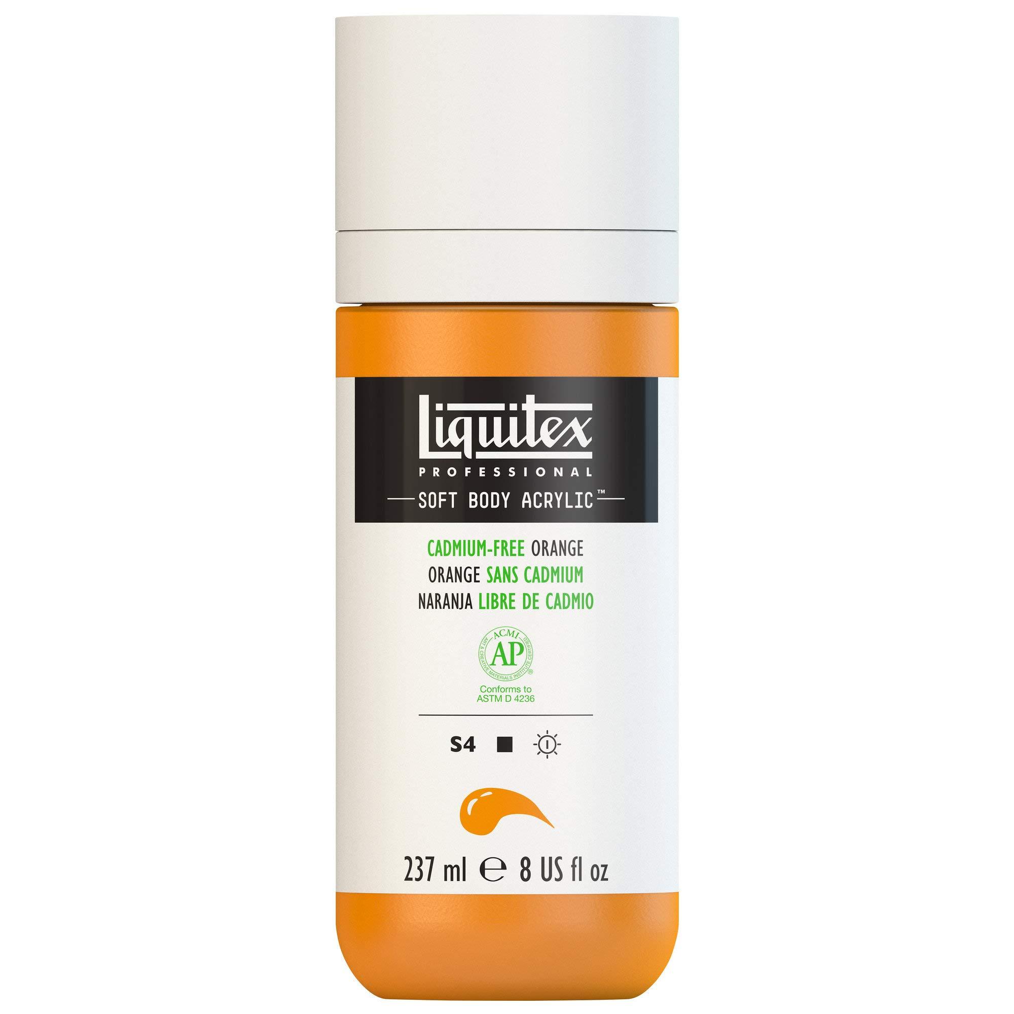 Liquitex Professional Soft Body Acrylic Paint 8-oz bottle, Cadmium-Free Orange