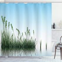 """Ambesonne Landscape Shower Curtain, Scenery of a Lake Bushes Grass with Reflection Floral Art Image Print, Cloth Fabric Bathroom Decor Set with Hooks, 70"""" Long, Blue Green"""