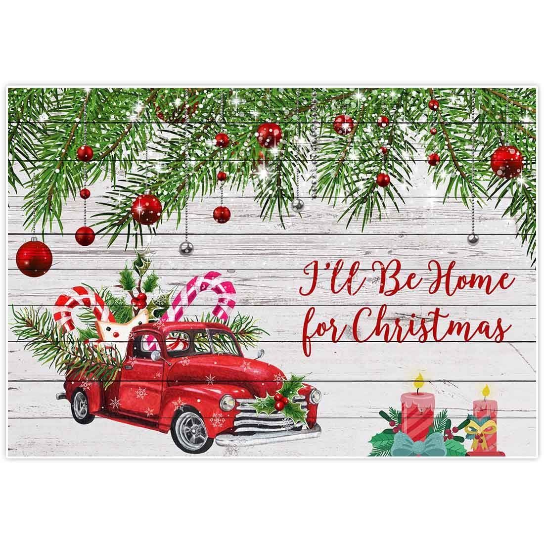 Allenjoy 8x6ft Red Truck Backdrops Santa I Will Be Home Christmas Xmas Eve Party Rustic White Wood Family Gathering Happy New Year Prom Party Baby Shower Decorations Favors Photoshoot Supplies