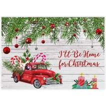 Allenjoy 7x5ft Red Truck Backdrops Santa I Will Be Home Christmas Xmas Eve Party Rustic White Wood Family Gathering Happy New Year Prom Party Baby Shower Decorations Favors Photoshoot Supplies