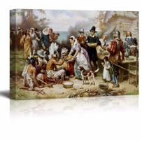 """wall26 - The First Thanksgiving by Jean Leon Gerome Ferris - Canvas Print Wall Art Famous Painting Reproduction - 16"""" x 24"""""""