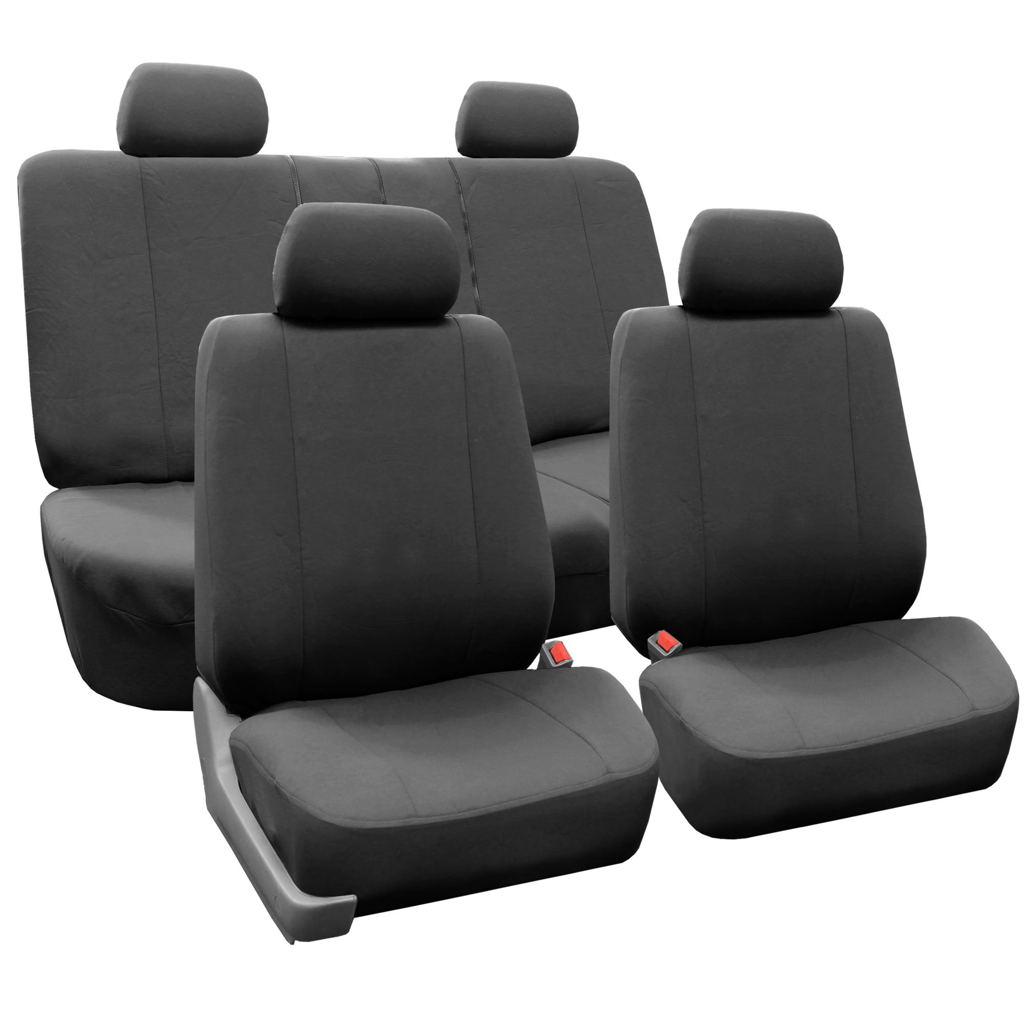 FH Group FB052114 Supreme Cloth Seat Covers (Charcoal) Full Set with Gift - Universal Fit for Trucks, SUVs, and Vans