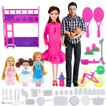 UCanaan Family Dolls Set of 6 People-Pregnant Doll with Baby in Tummy, Dad, 3 Daughters and 40 Baby Doll Accessories for Education and Birthday Children's Day Gift