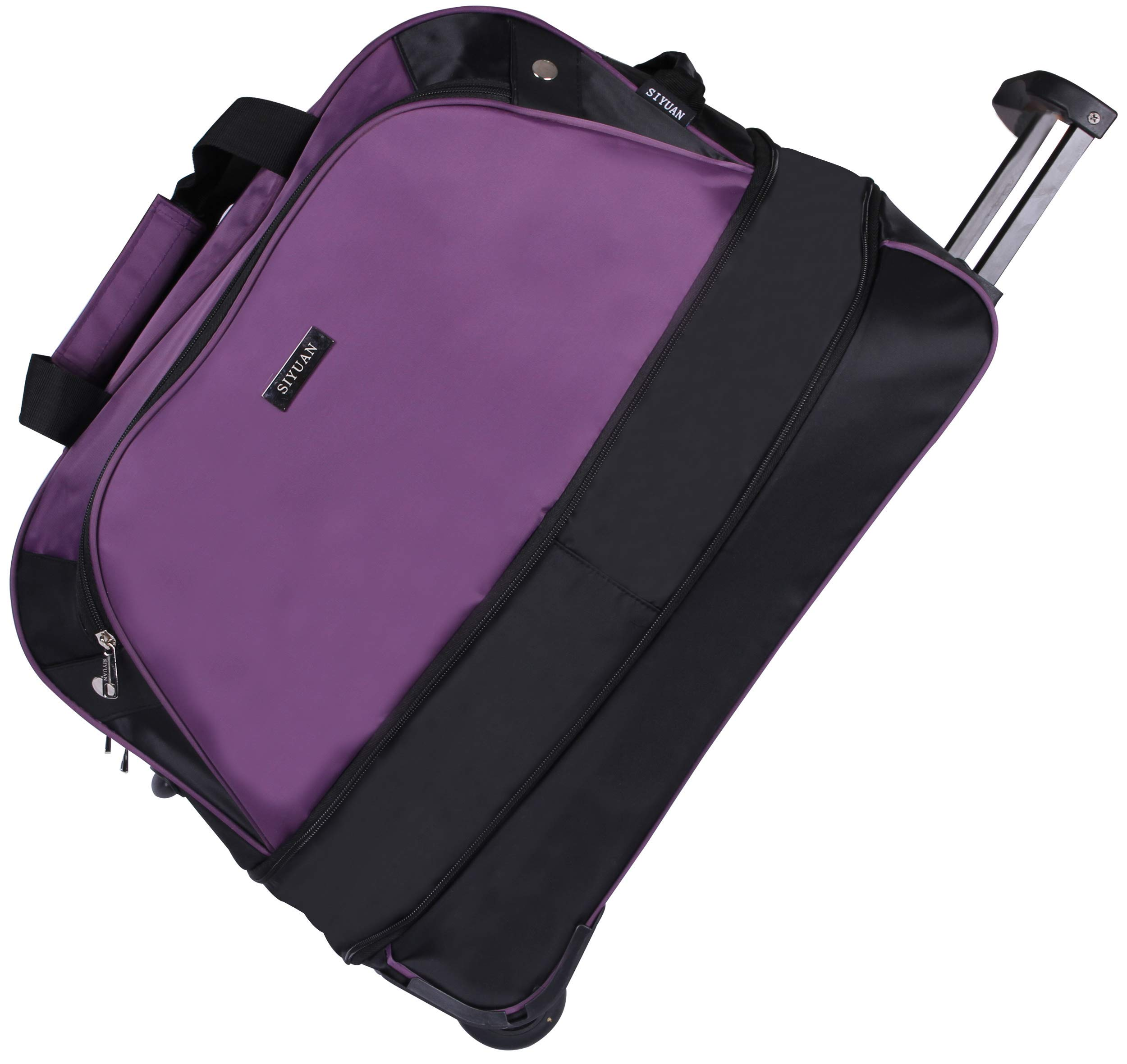 SIYUAN Duffel Bag with Wheels Women's Rolling Duffel Travel Airline Rolling Suitcase on Wheels Purple Medium 20 Inches