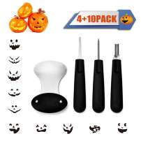 Diravo Professional Kit-Includes 4 10 Stencils, Heavy Duty Stainless Steel Tool Set, Used As a Carving Knife for Pumpkin Halloween Decoration, one size, Black-4pcs