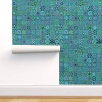 Spoonflower Peel and Stick Removable Wallpaper, Turquoise Floral Modern Home Square Squares Mock Fake Print, Self-Adhesive Wallpaper 24in x 144in Roll