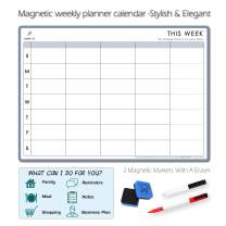 Meal Planner and Action Plan Whiteboard - Large Magnetic Calendar for Study Planning, Exams, Chores or Dieting - 17.5x12.5'' Fridge Calendar Task Plan Includes 2 Markers and Eraser-Weekly