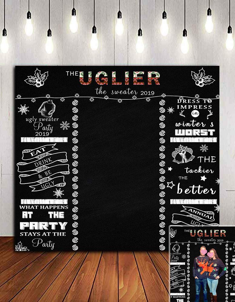 Annual Ugly Sweater Party Photo Background Vinyl 6x6ft Photo Booth Studio Props Supplies Black Chalkboard Photography Backdrop Tacky Winter Christmas 2019 Party Banner Decorations