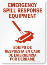 "SmartSign ""Emergency Spill Response Equipment"" Bilingual Label | 10"" x 14"" Laminated Vinyl"